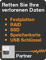 Wiederherstellung auf allen Informatik Datenträgern: Festplatten, RAID-System, USB-Schlüssel, Speicherkarten, CD/DVD, SOS Data Recovery - Partner